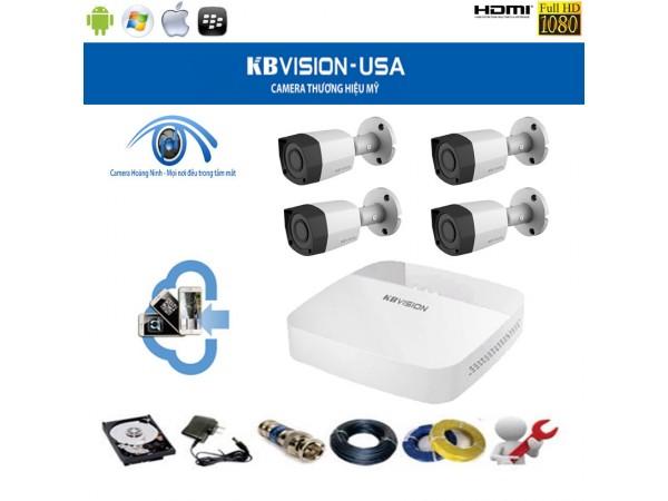 Trọn bộ camera KBVision 4 Kênh KX-1001CS 1.0 Megapixel