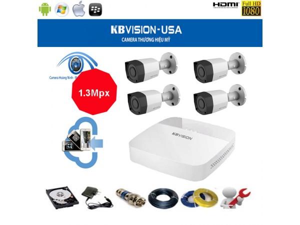 Trọn bộ camera KBVision 4 Kênh KX-1301C 1.3 Mpx