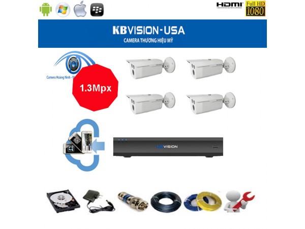 Trọn bộ camera KBVision 4 Kênh KX-1303C 1.3 Mpx